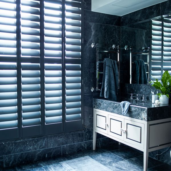 Interior window shutters for the bathroom