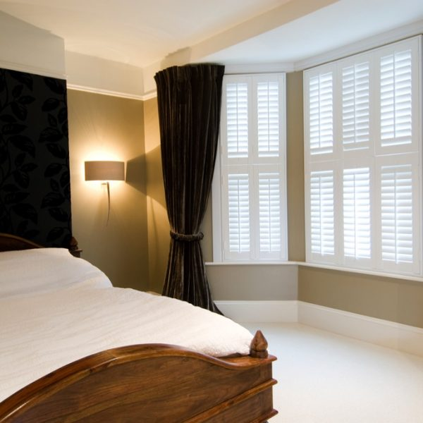 Shutters for the bedroom in a Tier on Tier design in pure white